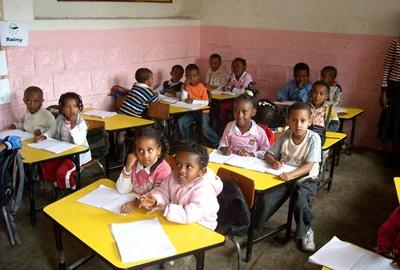 A typical classroom in Ethiopia, where professional teachers can work with school children.
