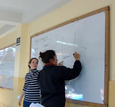 Professional teaching volunteer in a class activity in Peru