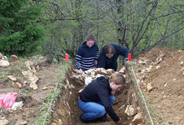 Professional archaeologists work abroad at a dig site alongside local staff.