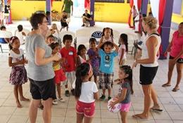 Children participate in a physical education class taught by volunteers on the Teach Physical Education Project in Belize.