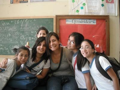 A Projects Abroad Teaching volunteer with her secondary school students in Argentina