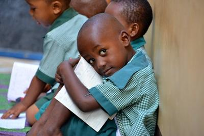 A young school boy at a Teaching placement in Tanzania, Africa
