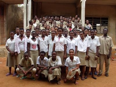 Class of students on the volunteer Teaching project in Togo