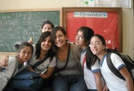 Volunteers with their students on the Teach English and Other Subjects Project in Argentina.