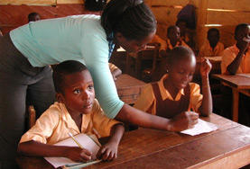 Teaching volunteers facilitate a lesson at a local school in Ghana.